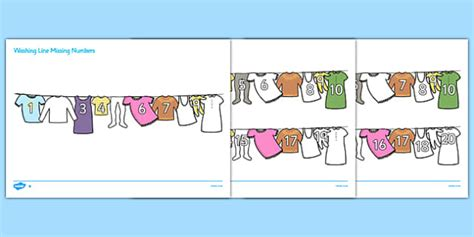 printable number washing line washing line missing number to 20 activity sheets numbers