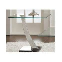contemporary glass end table modern chrome marble style living room side stand ebay