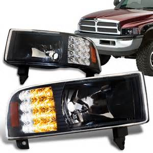 1994 Dodge Ram Headlights 1994 2001 Dodge Ram Black Housing Headlights With