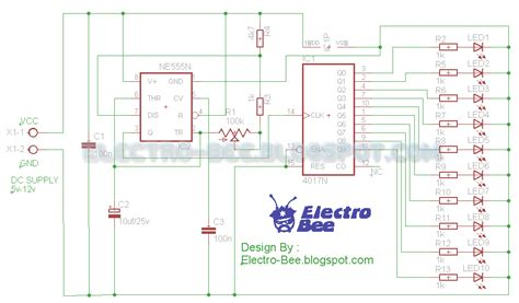 layout running led rangkaian running led
