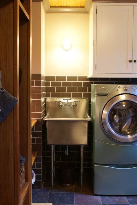innovative slop sink  laundry room eclectic  rustic