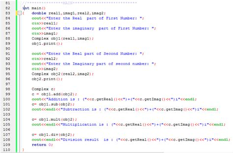 tutorial c classes c program for complex numbers using class c