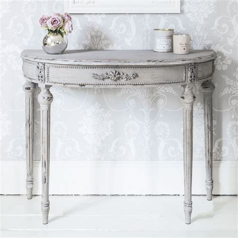 modern shabby chic console tables french bedroom company grey half moon console table french bedroom company