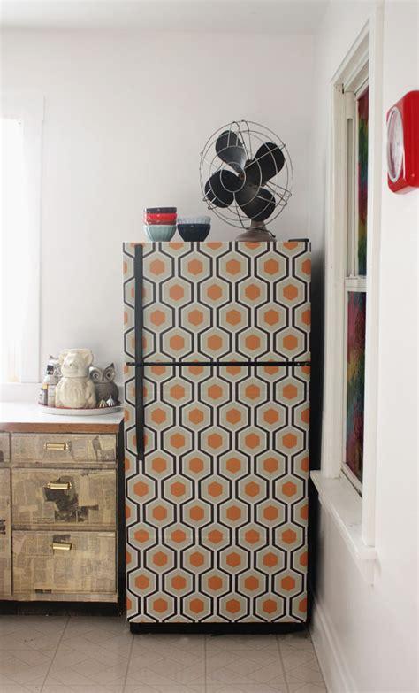 wallpapered fridge decor hacks