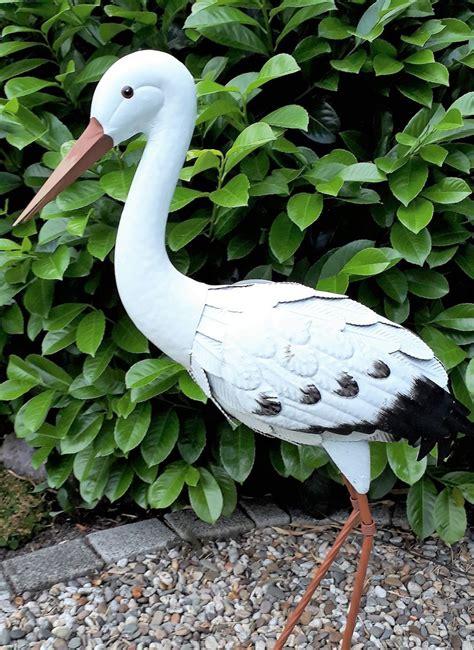 Gartenfiguren Metall Gartendekorationen gartenfigur storch metall figur bunt vogel garten