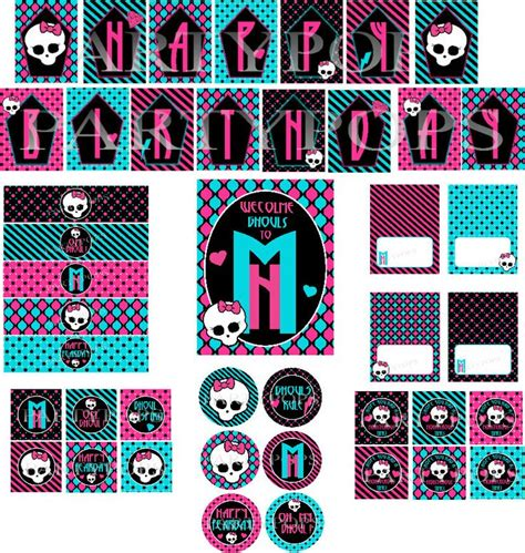 monster high printable name tags monster high inspired party food label or name place card