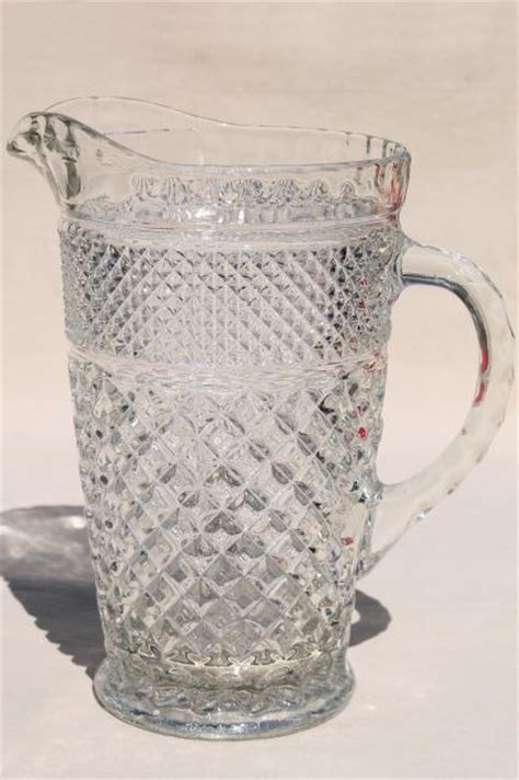 wexford waffle anchor hocking crystal clear glass lemonade set pitcher tumblers