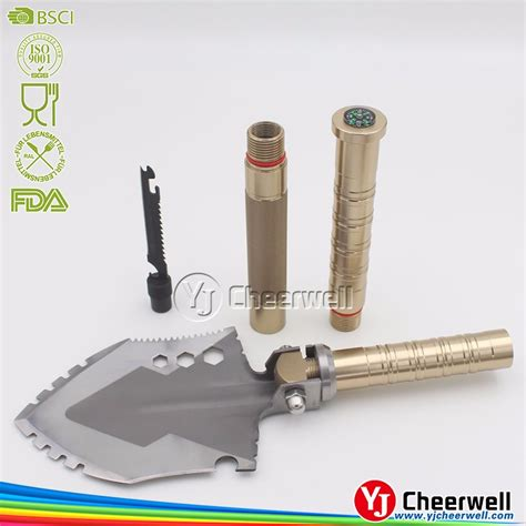 survival multi tool with firestarter survival shovel kit with multi tools compass knife saw