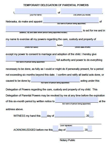 Temporary Power Of Attorney Template by Power Of Attorney Child Free Printable Documents