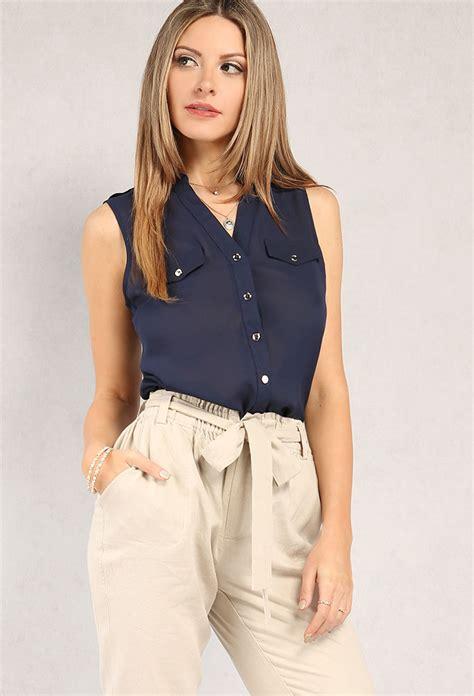 Blouse 3 Tone Sweater 3 Warna sleeveless chiffon button up blouse shop dressy tops at papaya clothing