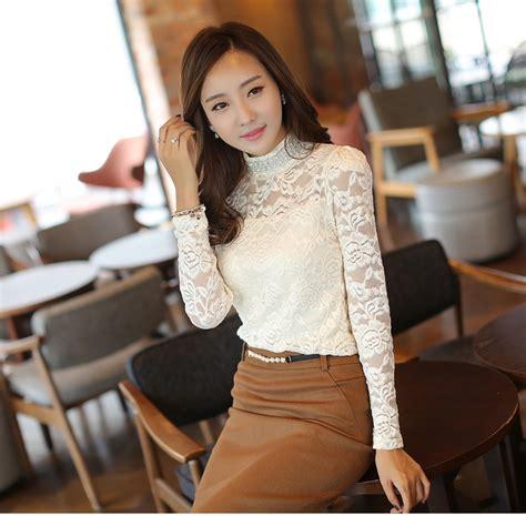 Blouse Motif Unggu Biru Korean Style fashion korea style blouse floral pattern sleeve top turtle collar lace white blouse