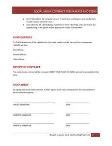Social Media Contract Template by Social Media Contract For Parents And