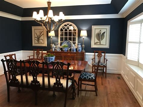 dining room  sherwin williams naval paint color