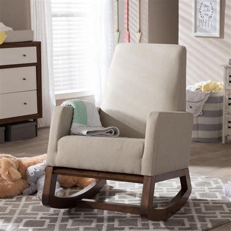 baxton studio rocking chair yashiya baxton studio yashiya mid century beige fabric upholstered