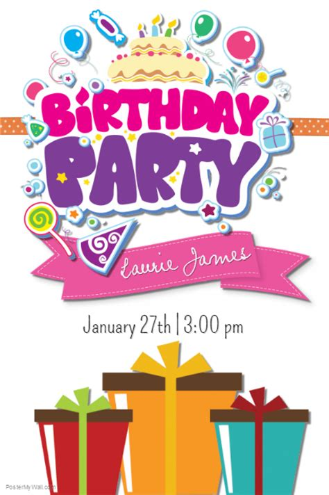 templates for birthday posters birthday party template postermywall