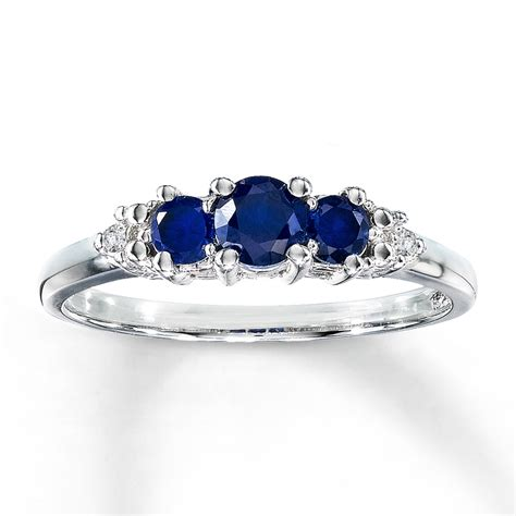 lab created sapphire ring accents 10k white gold