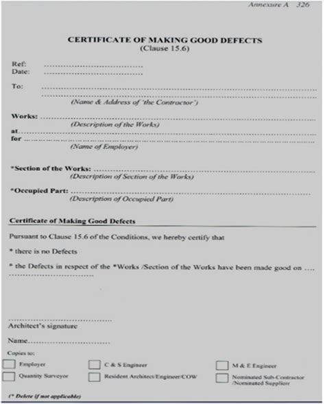 certificate of practical completion template 28 practical completion certificate template letter