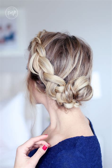 beautiful braided bun quick easy  fun