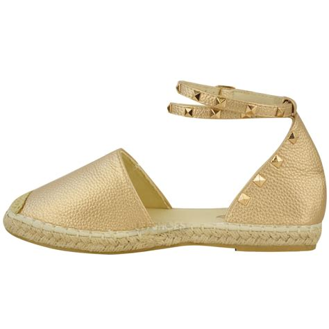 flat studded shoes womens espadrilles ankle strappy flat summer
