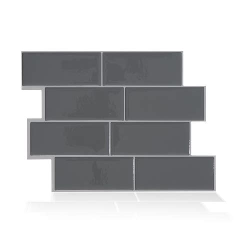 smart tiles metro grigio 11 56 in w x 8 38 in h peel and stick decorative mosaic wall tile smart tiles metro grigio grey 11 56 in w x 8 38 in h