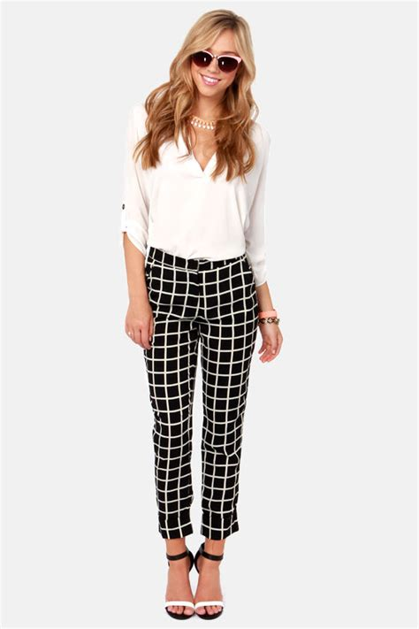 pants checkered jeans checkered pants black and white cute black pants print pants checkered pants 44 00