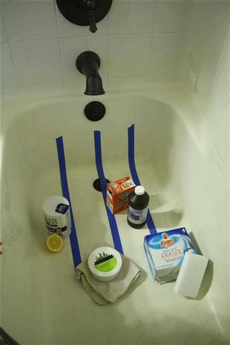 cleaning bathtub with hydrogen peroxide paste made from baking soda and peroxide to brighten