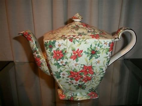 christmas teapots made in england royal winton chintz teapot