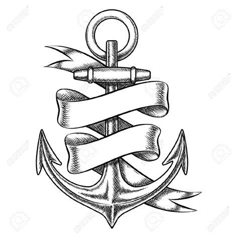 anchored art tattoo vektor handgezeichneten skizze anker mit leeren band