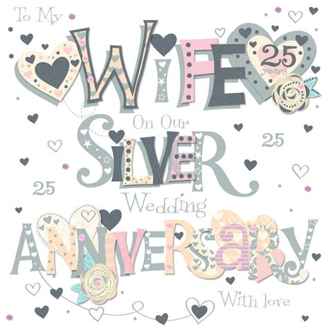 25th Wedding Anniversary Card And In by Silver 25th Wedding Anniversary Greeting Card Cards
