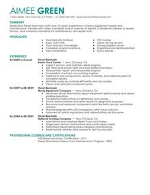 Diesel Mechanic Resume Exle by Diesel Mechanic Resume Exles Installation Repair Resume Sles Livecareer