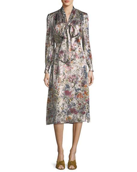 Vanesha Dress burch sleeve floral print satin dress
