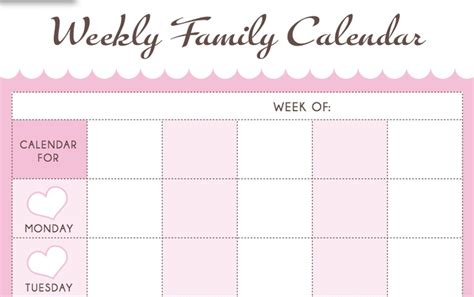 new 806 printable family weekly calendar family worksheet