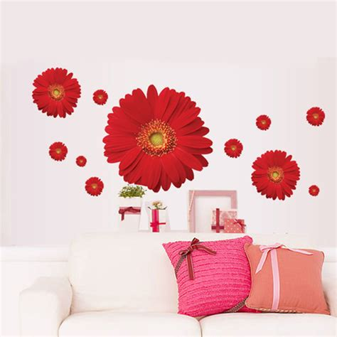 flower wallpaper home decor 1set decorative flower decals for furniture stickers red