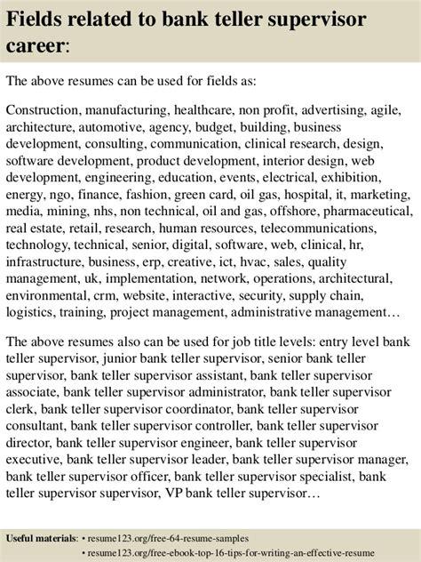 top 8 bank teller supervisor resume sles