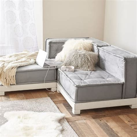 furry sofa cushy lounge sectional set pbteen