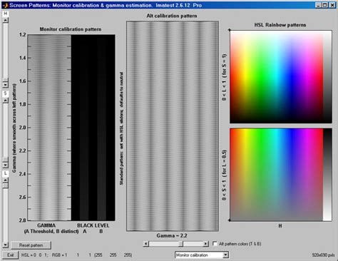 gamma test pattern hdtv using screen patterns imatest