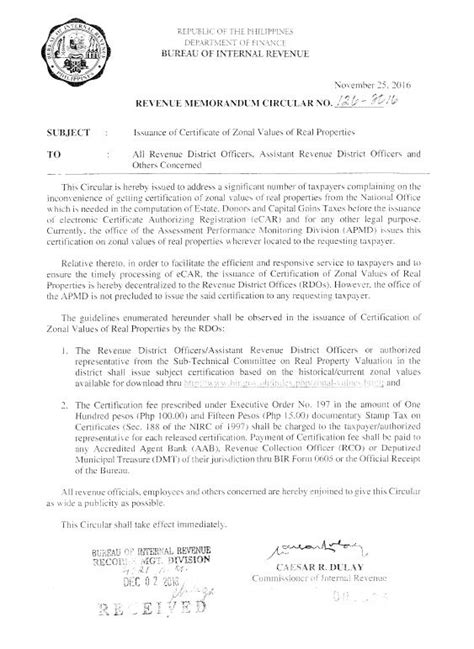 Request Letter For Zoning Certificate Certification On Zonal Values Devolved To Rdos