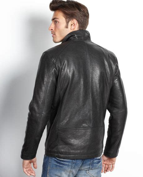 rugged leather jackets marc new york neptune rugged leather jacket in black for lyst