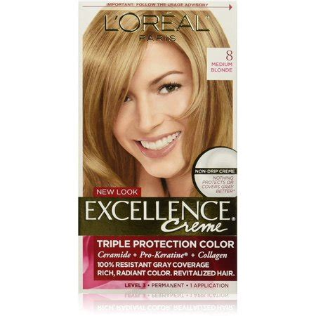l oreal excellence creme permanent hair color medium 8 1 74 oz walmart l oreal excellence cr 233 me permanent hair color 8 medium 1 ea walmart