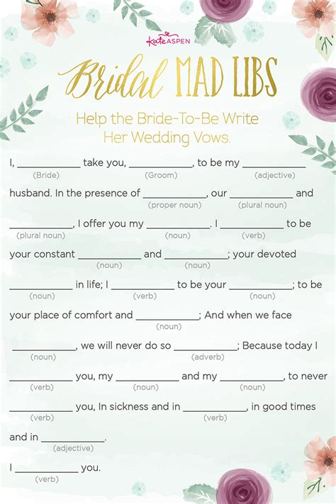 printable wedding shower mad libs 3 bridal shower games free printables kate aspen blog