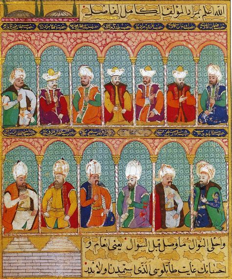 Sultans Of Ottoman Empire by Thirteen Ottoman Sultans Anonymous Ca 1600 From The