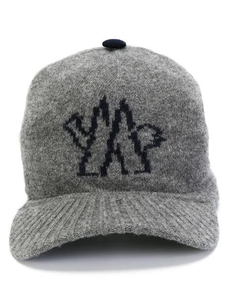 knit baseball cap moncler knit baseball cap in gray for lyst