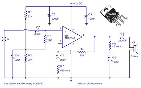 integrated circuit for lifier gt circuits gt car lifier circuit schematic using tda2040 integrated audio lifier l37025