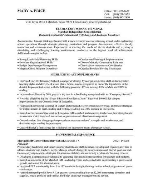 Principal Resume Template by Elementary School Principal Resume Best Resume Collection