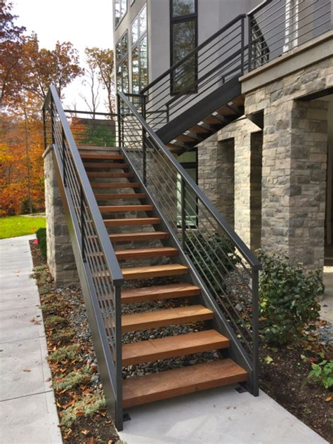 exterior staircase iron and wood stairs archives finelli ironworks