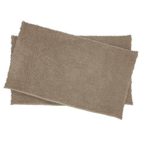 chenille shag rug resort collection plush shag chenille linen 2 17 in x 24 in bath rug set ymb001940 the