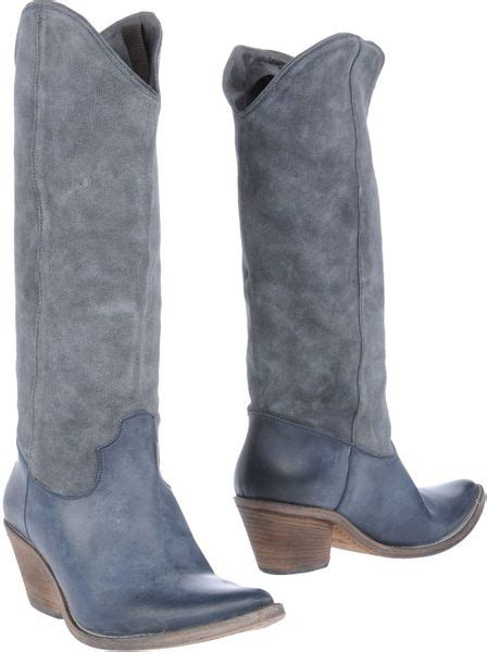 strategia cowboy suede knee high boots in blue slate blue