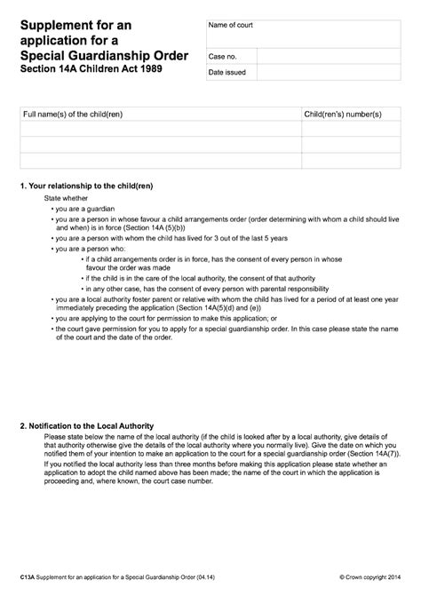 supplement application c13a supplement for an application for a special