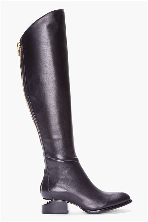 wang boots wang knee high black leather sigrid boots in