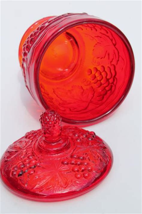 red glass concord vintage grape pattern imperial glass